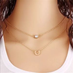 Jewelry - Lucky Horseshoe Bling Gold Statement Necklace